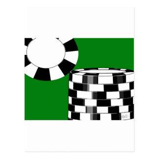 緑の白黒のポーカー用のチップ ポストカード
