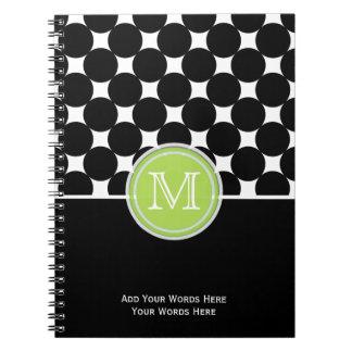 緑の白黒のモノグラムのノート ノートブック