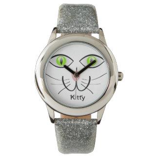 緑の瞳の子猫猫の顔の銀のグリッターの名前の腕時計 腕時計