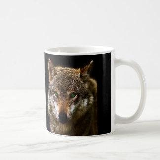 緑の瞳の~の編集可能背景とのオオカミのプロフィール コーヒーマグカップ