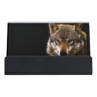 緑の瞳の~の編集可能背景とのオオカミのプロフィール デスク名刺ホルダー