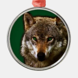 緑の瞳の~の編集可能背景とのオオカミのプロフィール メタルオーナメント