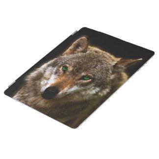 緑の瞳の~の編集可能背景とのオオカミのプロフィール iPadスマートカバー