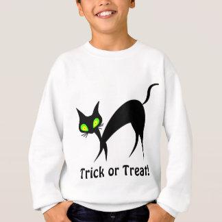 緑の瞳を持つトリック・オア・トリートの黒猫! スウェットシャツ