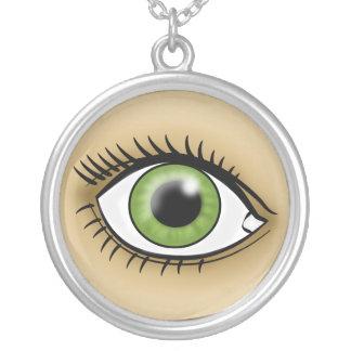 緑の瞳アイコン シルバープレートネックレス