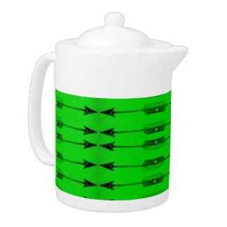 緑の矢のプリントの茶ポット