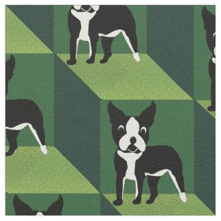 緑の立方体のボストンかわいいテリア ファブリック