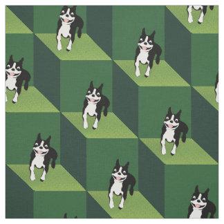 緑の立方体の熱狂するなボストン ファブリック