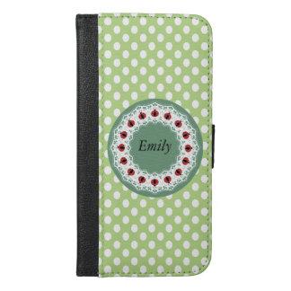 緑の粋でガーリーなてんとう虫の水玉模様のモノグラム iPhone 6/6S PLUS ウォレットケース