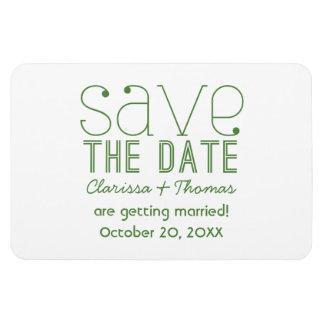 緑の粋なタイポグラフィの保存日付の磁石 マグネット
