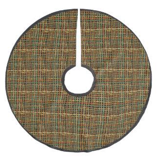 緑の素朴な編まれた荒いバーラップ ブラッシュドポリエステルツリースカート