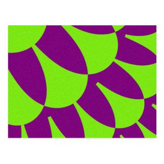 緑の紫色のスケールの郵便はがき ポストカード