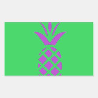 緑の紫色のマツりんご 長方形シール