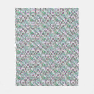 緑の紫色の人魚のパステルパターン フリースブランケット
