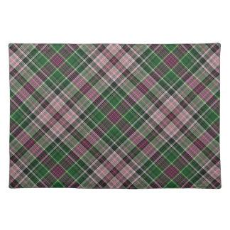 緑の紫色の黒いタータンチェック ランチョンマット
