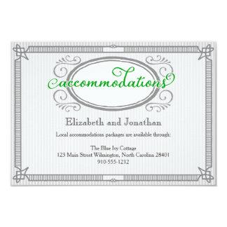 緑の細い縦縞のレトロの結婚式の調節カード 8.9 X 12.7 インビテーションカード