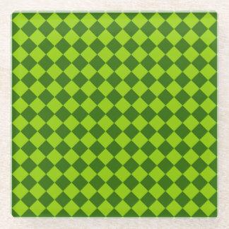 緑の組合せのダイヤモンドパターン ガラスコースター