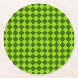 緑の組合せのダイヤモンドパターン ラウンドペーパーコースター