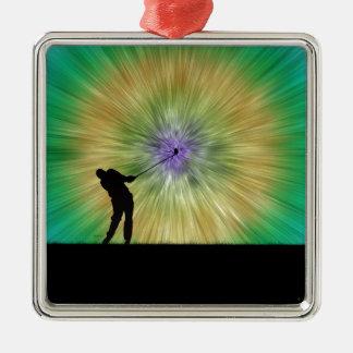 緑の絞り染めのゴルファーのシルエット メタルオーナメント