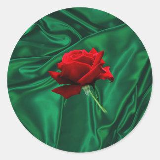 緑の絹のステッカーに上がりました ラウンドシール