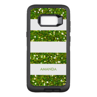 緑の緑の草木はストライプ白の加えますあなたの名前をぴかぴか光ります オッターボックスディフェンダーSamsung GALAXY S8+ ケース