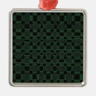 緑の織り目加工の正方形パターン メタルオーナメント
