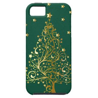 緑の美しい金属金ゴールドのクリスマスツリー iPhone SE/5/5s ケース