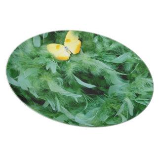 緑の羽及び蝶 ディナー皿