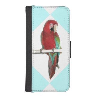 緑の翼のコンゴウインコ iPhoneSE/5/5sウォレットケース