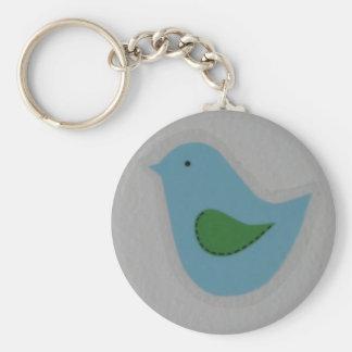 緑の翼を持つ青い鳥 ベーシック丸型缶キーホルダー