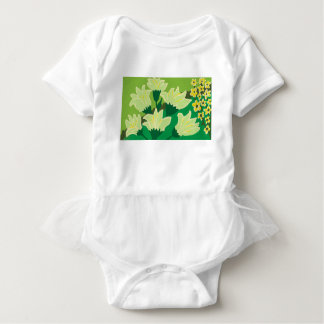 緑の背景との白を開花します ベビーボディスーツ