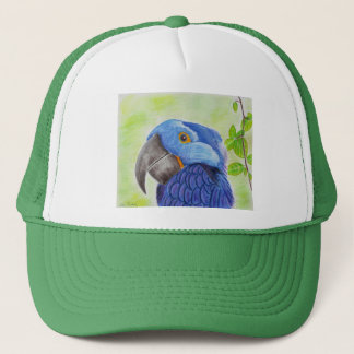緑の背景のオウムを愛する青いおもしろい キャップ