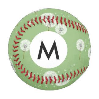 緑の背景のタンポポパターン 野球ボール