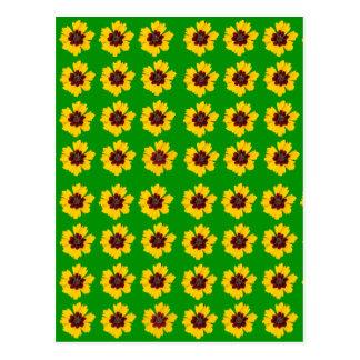 緑の背景のパターン黄色いデイジー ポストカード