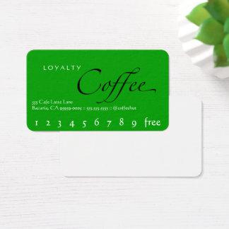 緑の背景のロイヤリティのコーヒーパンチカード 名刺