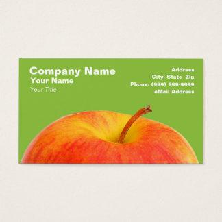緑の背景の赤いApple 名刺