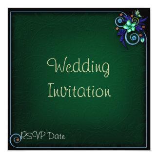 緑の花いっぱいの結婚式招待状 13.3 スクエアインビテーションカード