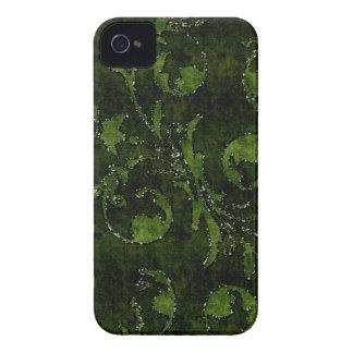 緑の花のスパンコールのグリッターのビロードの一見の箱 Case-Mate iPhone 4 ケース
