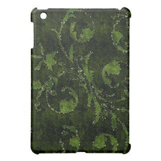 緑の花のスパンコールのグリッターのビロードの一見の箱 iPad MINIカバー