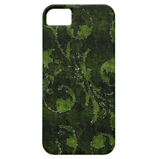 緑の花のスパンコールのグリッターのビロードの一見の箱 iPhone SE/5/5s ケース