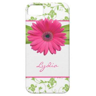 緑の花のダマスク織のピンクのガーベラのデイジーのiPhone 5 iPhone SE/5/5s ケース