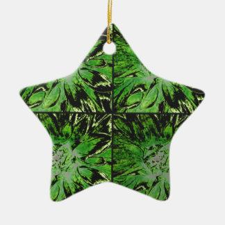 緑の花のダリアの花模様 セラミックオーナメント