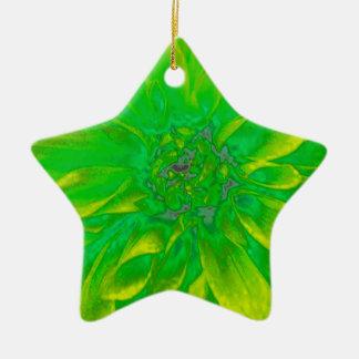 緑の花のダリアの花模様 陶器製星型オーナメント