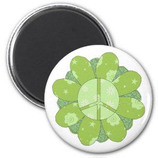 緑の花のピースサイン マグネット