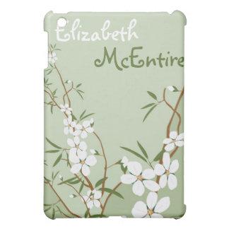 緑の花のミズキの名前入りなiPadのMacの場合 iPad Miniケース