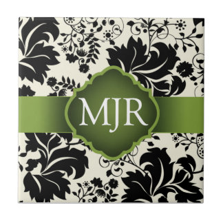 緑の花のモノグラムの記念品の結婚式の引き出物 タイル