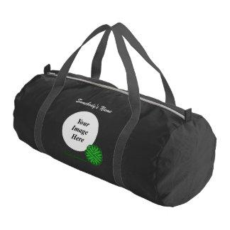 緑の花のリボンのテンプレート ジムバッグ