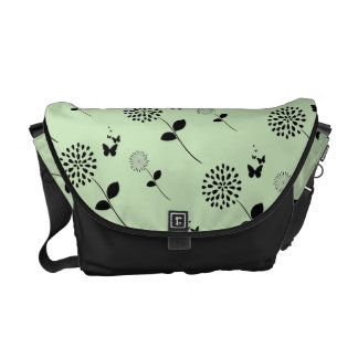 緑の花の蝶グラフィックアートのメッセンジャーバッグ クーリエバッグ