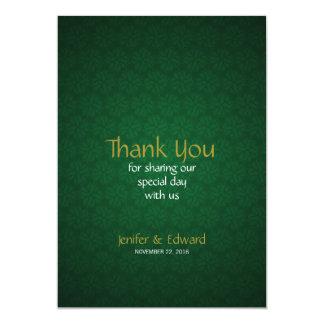 緑の花の質の結婚式のサンキューカード カード