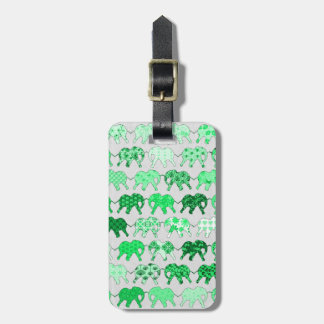 緑の花パターン象 ラゲッジタグ